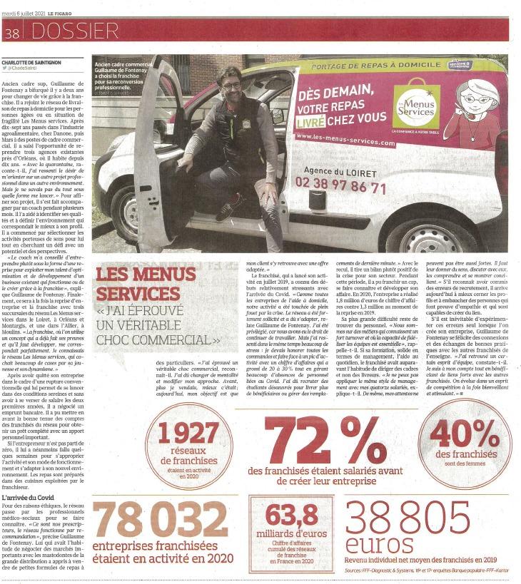 Les Menus Services dans le Figaro du mardi 6 juillet 2021